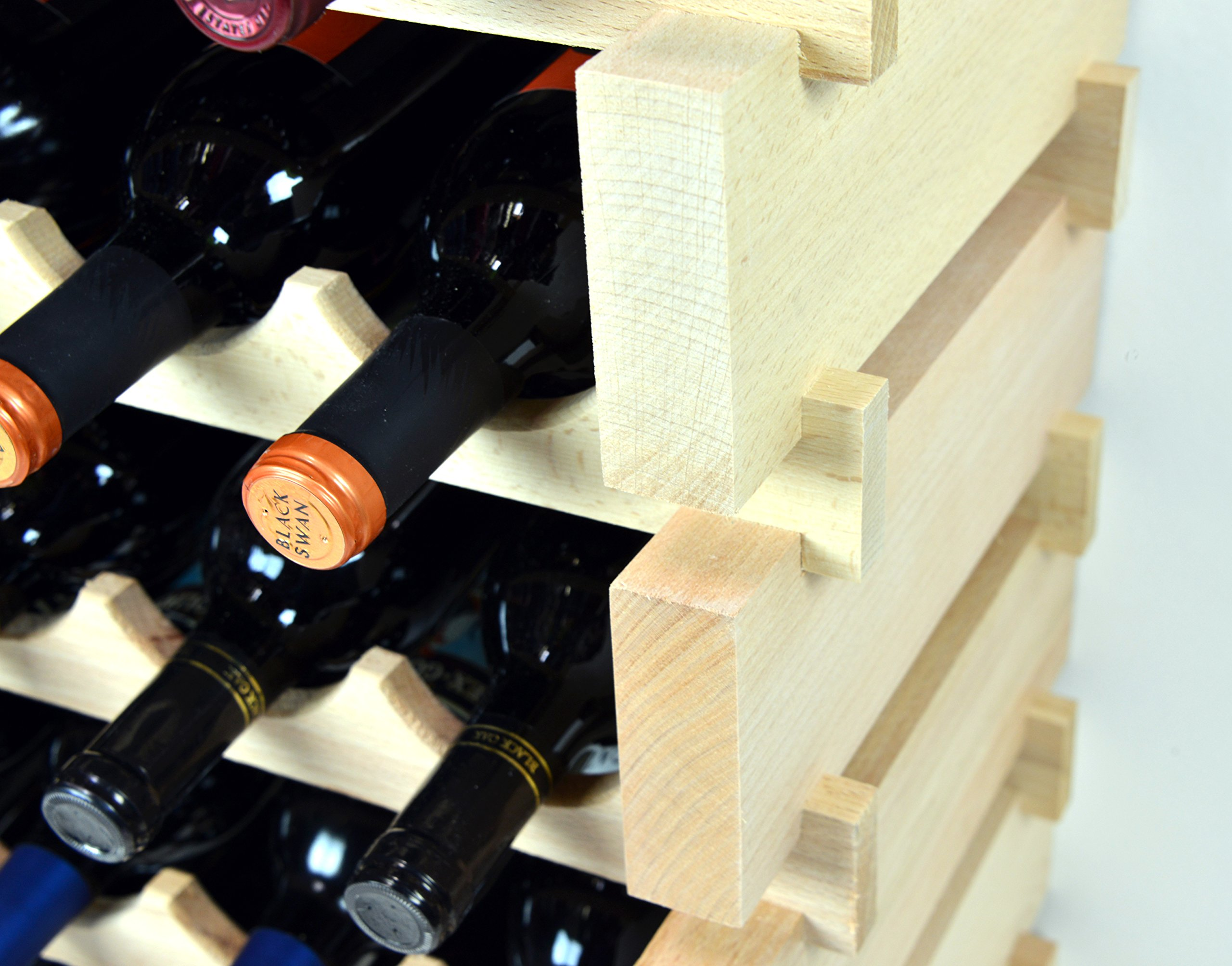 Modular Wine Rack Pine Wood 32-96 Bottle Capacity Storage 8 Bottles Across up to 12 Rows Stackable Newest Improved Model (96 Bottles - 12 Rows) by sfDisplay.com,LLC. (Image #5)