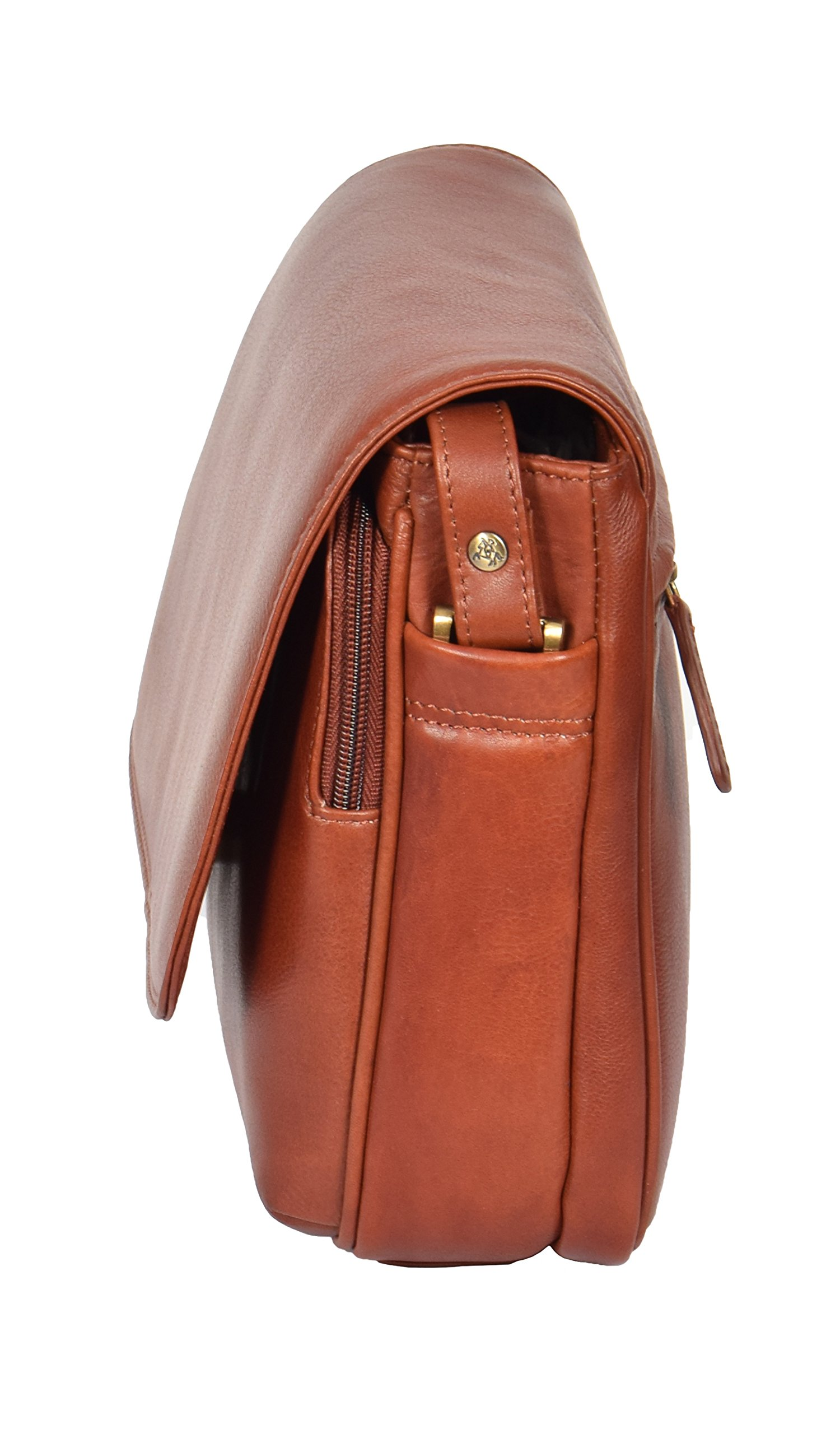 Womens Brown Shoulder Leather Organiser Cross Body Work Messenger Bag A190 by A1 FASHION GOODS (Image #3)