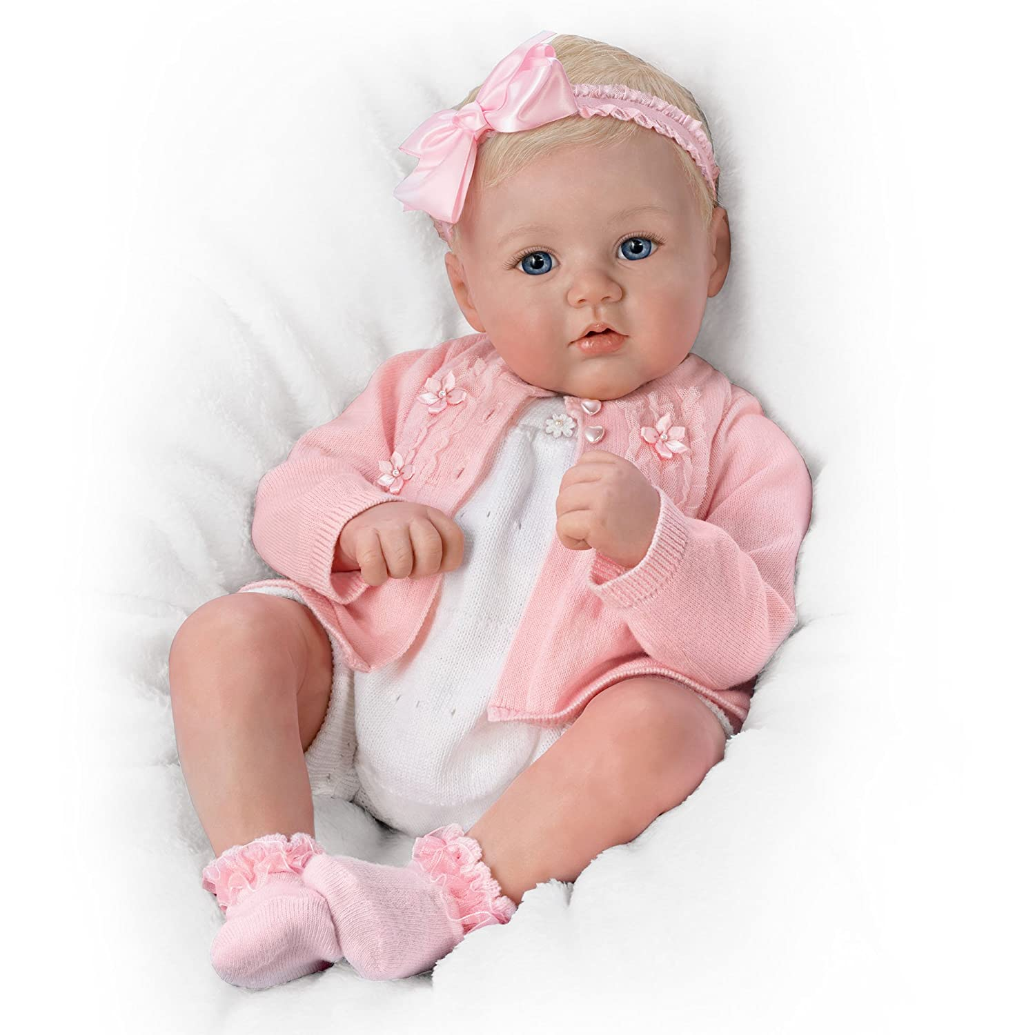 Ashton Drake The born Baby Girl Doll 'Perfect In Pink Annika Marissa May RealTouch® Realistic Vinyl Skin
