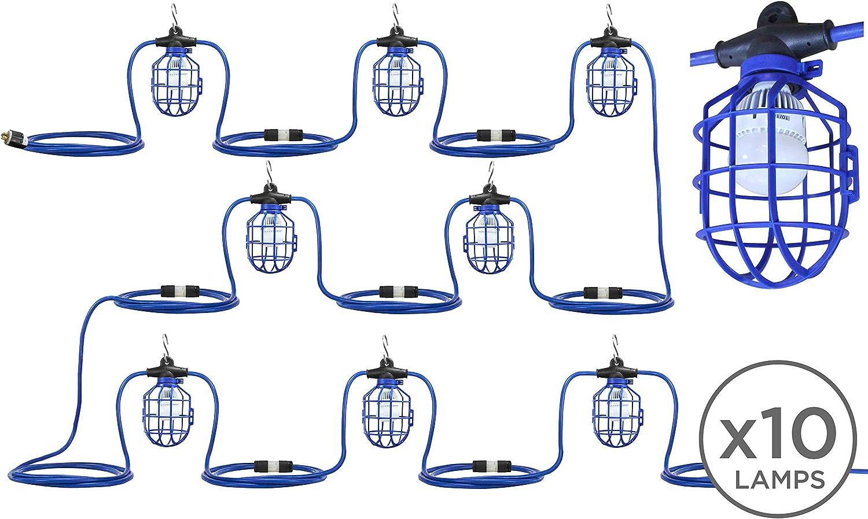 12//3 SJTW Ten LED Lamps 100W Temporary String Light Twist Lock Plugs Between Lamps 100L