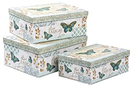 Butterfly Set de 3 Cajas Decorativas, Cartón, Multicolor, 33x24x29.5 cm,