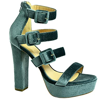 5d105bfd1613 Womens Ladies Triple Strap Velvet Platforms Girls High Block Heels Sandals  Peep Toe Party Fashion Casual Summer Shoes Size UK 3-8  Amazon.co.uk  Shoes    ...