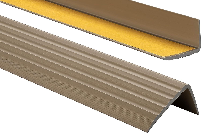 Profilo per bordi scale 110cm Profilo angolare in PVC autoadesivo 41mm x 25mm Strisce antiscivolo per gradini Paraspigolo Beige