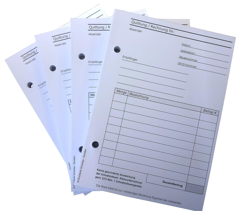 1x Block Quittung für Kleinunternehmer nach §19 - Quittungsblock - 100 Blatt DIN A6 Hochformat - gelocht - (22421) Druckerei Scharlau