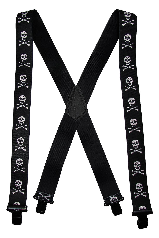 Men's Big & Tall Elastic Metal Clip-End Skull & Crossbones Suspenders USA Made