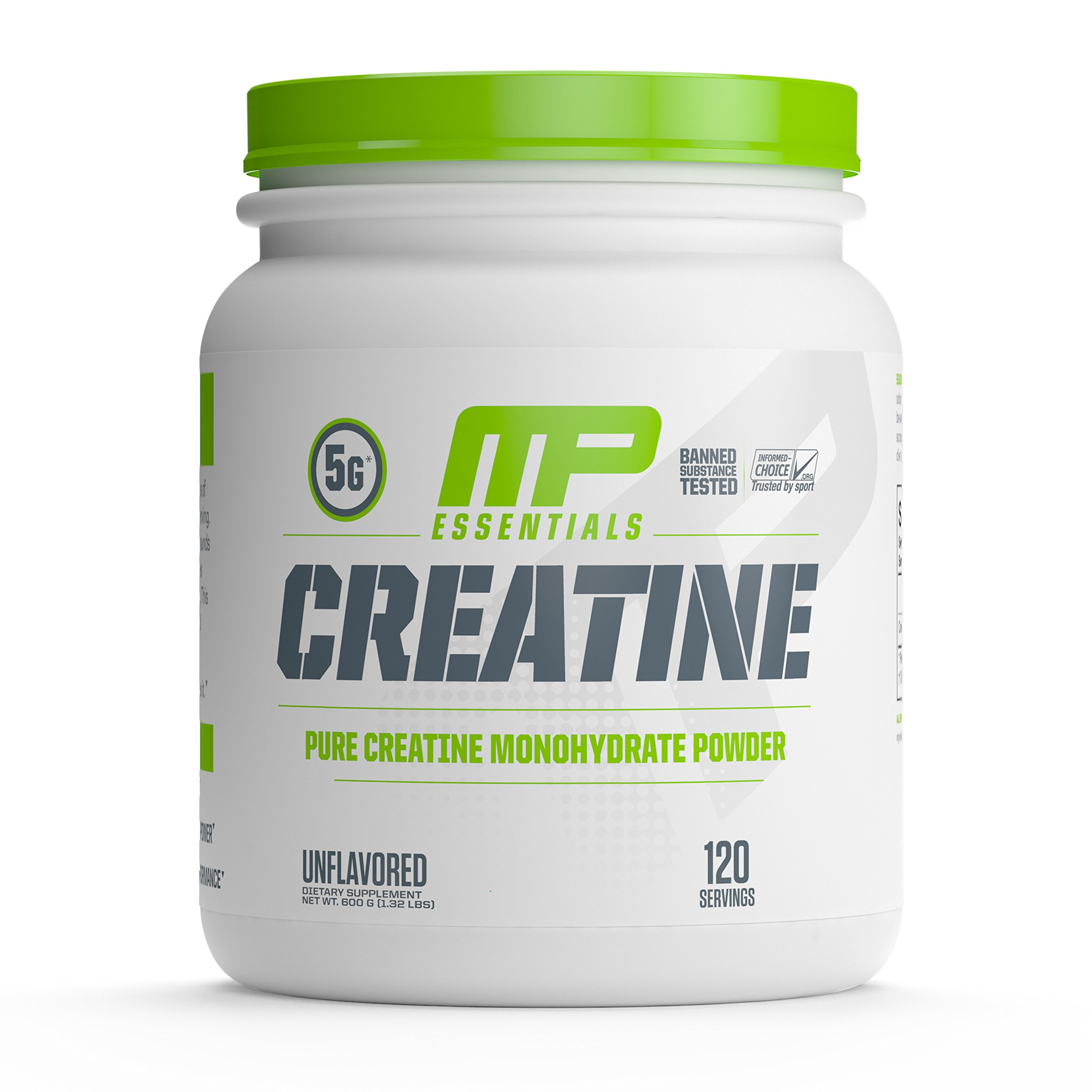 MP Essentials Micronized Creatine, Ultra-Pure 100% Creatine Monohydrate Powder, Muscle-Building, Protein Creatine Powder, Creatine Monohydrate Powder, 600 g, 120 Servings