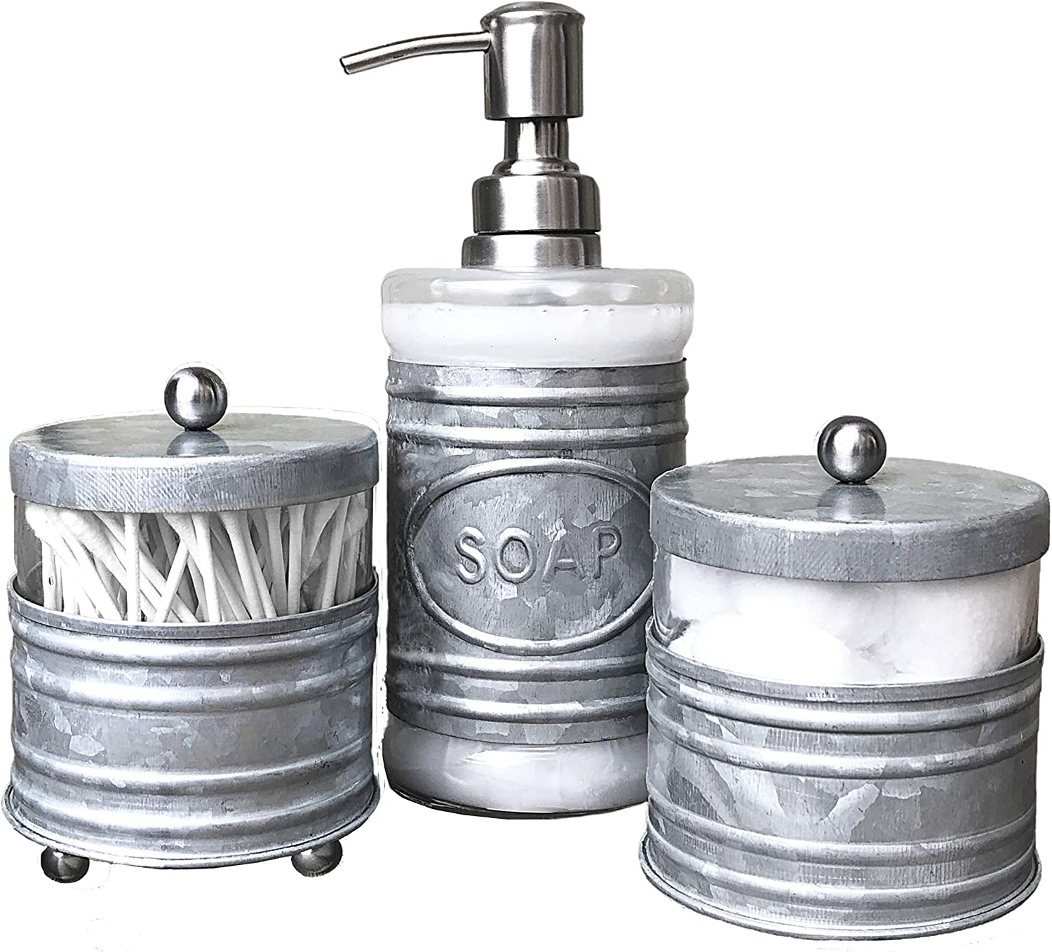 Autumn Alley Adorable 3 Piece Farmhouse Bathroom Accessory Set for Sink/Vanity with Galvanized Soap Dispenser, Cotton Ball Container with Lid, Qtip Organizer- Galvanized Farmhouse Bathroom Decor