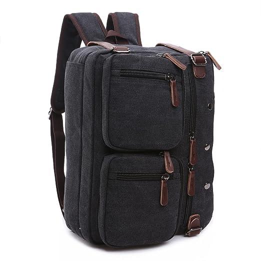 BAOSHA HB-22 Vintage lienzo bolso de mano hombres del maletín mochila Convertible bolsa de ordenador portátil mochila de viaje senderismo mochila (Negro ...