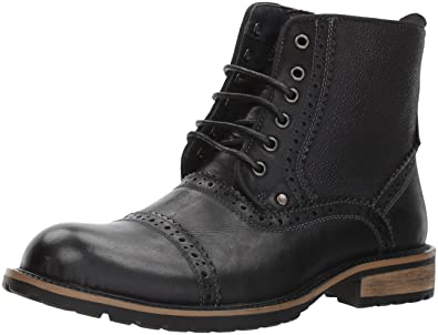 Steve Madden Men's Settler Boot, Black Leather, 10 US/US Size Conversion M