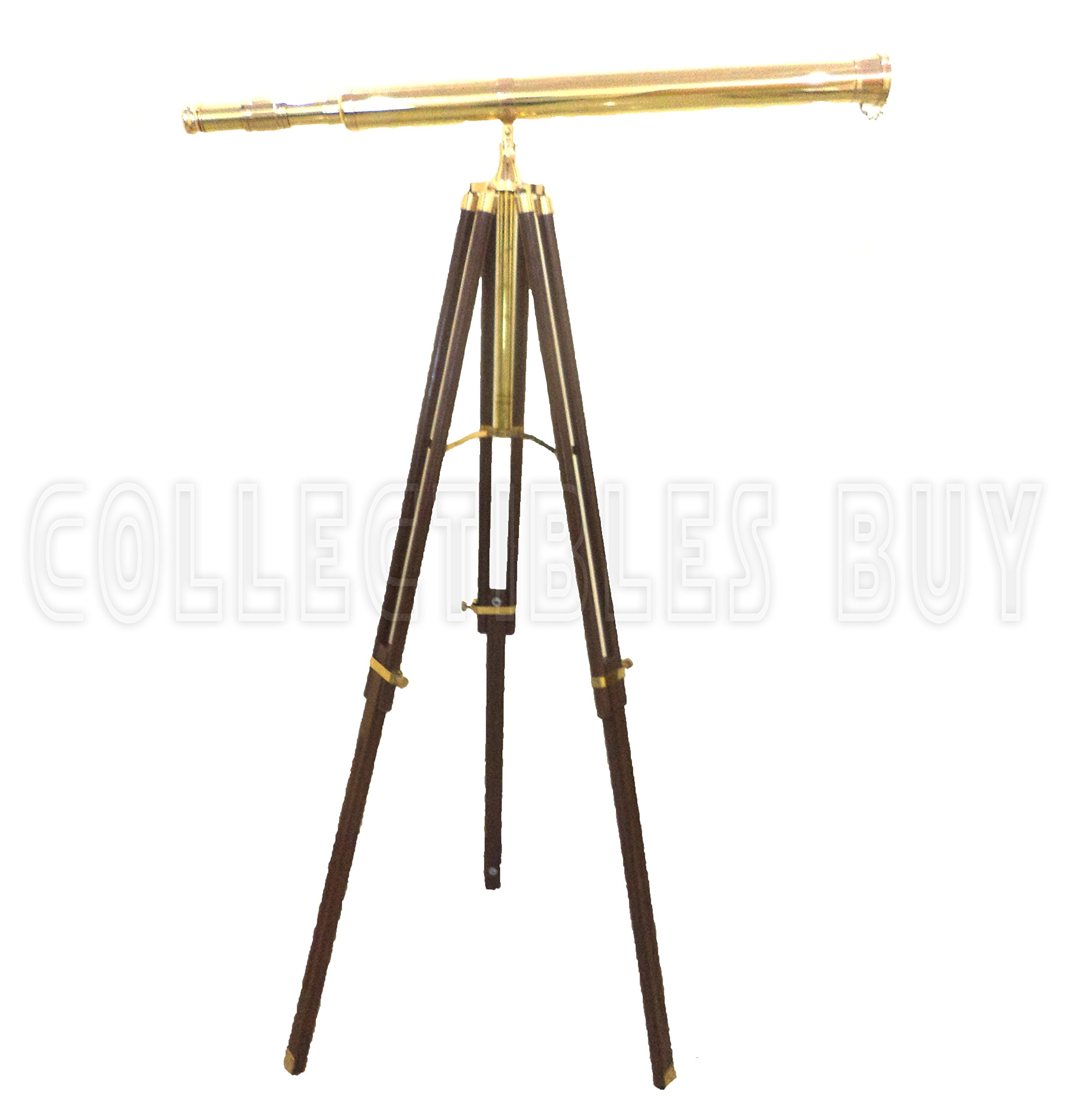 collectiblesBuy Vintage Solid Brass Nautical Port Marine Navy Telescope Single Barrel Brass Finish & Brown (Single Barrel Telescope (Height:65'' Inches)) by Collectibles Buy