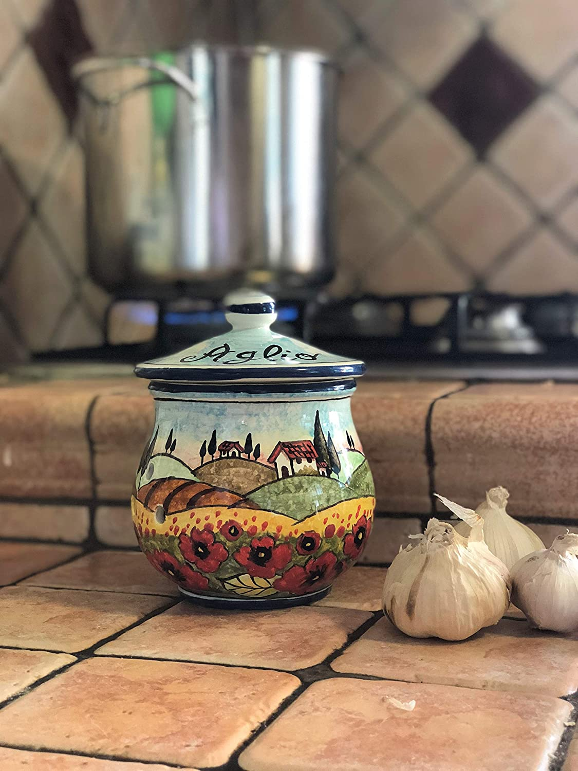 Italian Ceramic Garlic Brings Jar Holder Hand Painted Made in ITALY Decorated Poppies Landscape Tuscan Art Pottery CERAMICHE DARTE PARRINI