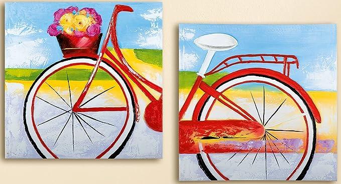 Gilde – Cuadro de Lienzo Flores Bicicleta Pintado a Mano en Lino, 2 Piezas, 120 x 60 cm: Amazon.es: Juguetes y juegos