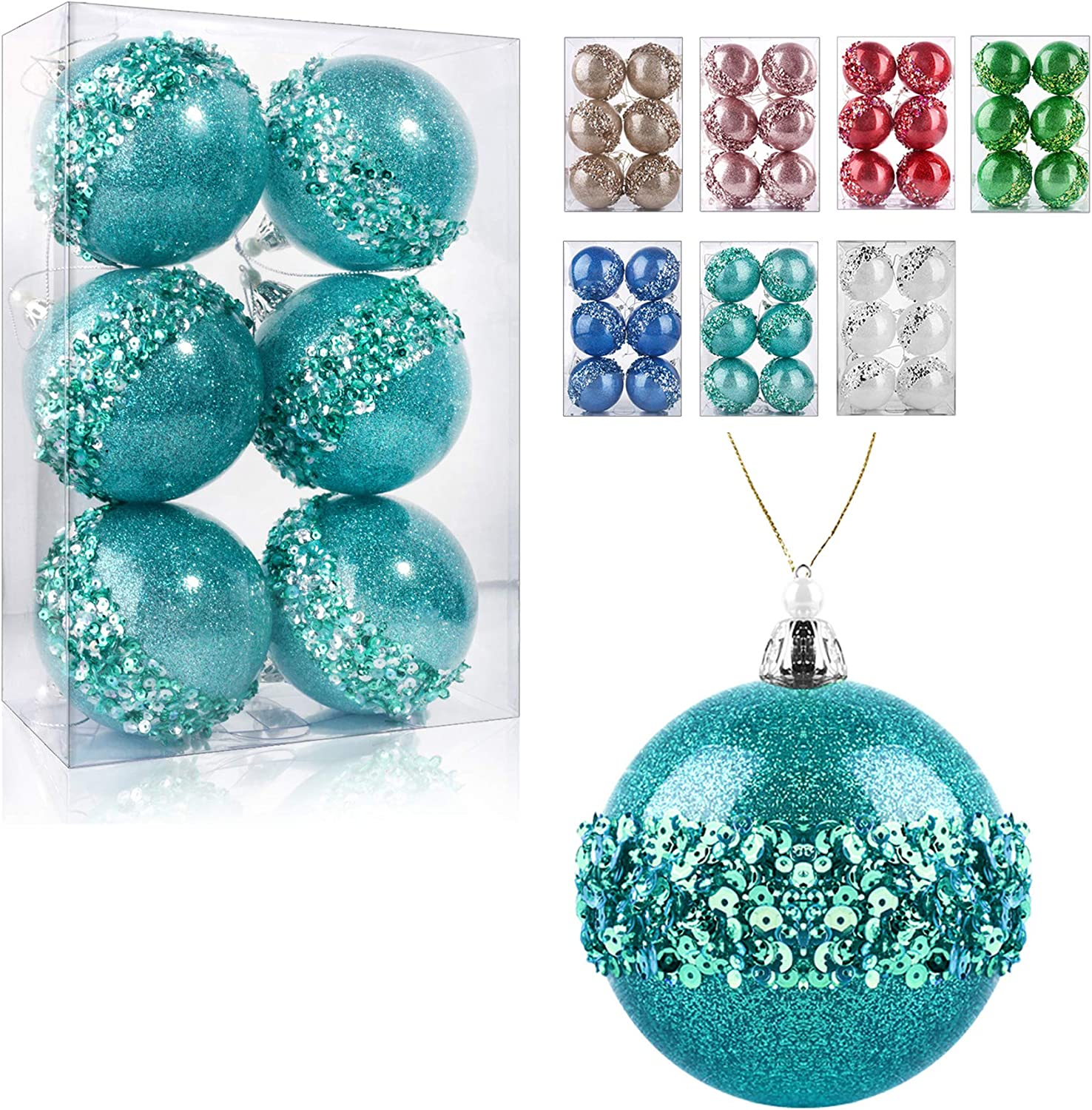 ZHANYIGY 3.15Inch Clear Ornaments Balls,6pc Set Light Blue Christmas Ball Decorations Ornaments Perfect Party Decorations Craft Transparent Ball Gifts for Wedding Party Decor (Light Blue)
