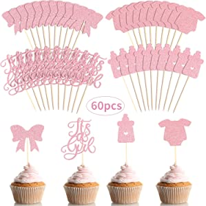 60 Pieces A Girl Cupcake Toppers Baby Shower Cake Cupcake Toppers Picks for Birthday Girl Party Decorations, Glitter Pink