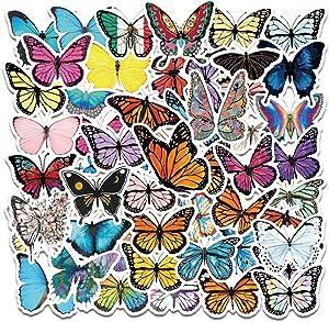 Butterfly Stickers | 50 PCS | Vinyl Waterproof Stickers for Laptop,Bumper,Skateboard,Water Bottles,Computer,Phone, (Butterfly-50)