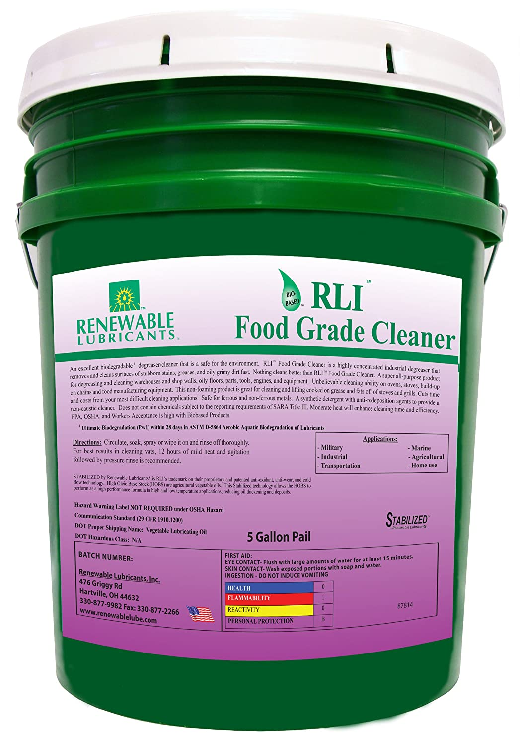 Renewable Lubricants - 87814 Food Grade Cleaner, 5 Gallon Pail