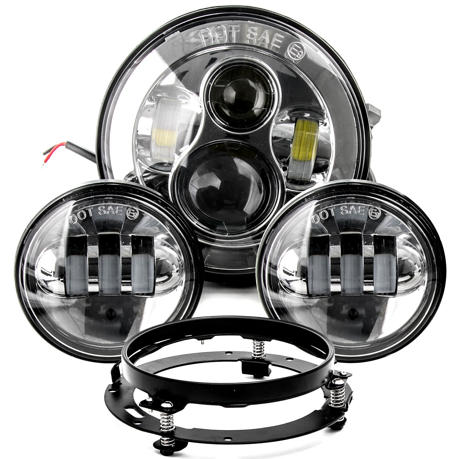 7' LED Projector Daymaker Headlight 4.5' Passing Lights Ring Bracket for Harley for Harley Davidson Electra Glide Classic EFI FLHTCI 1996-2006 KapscoMoto