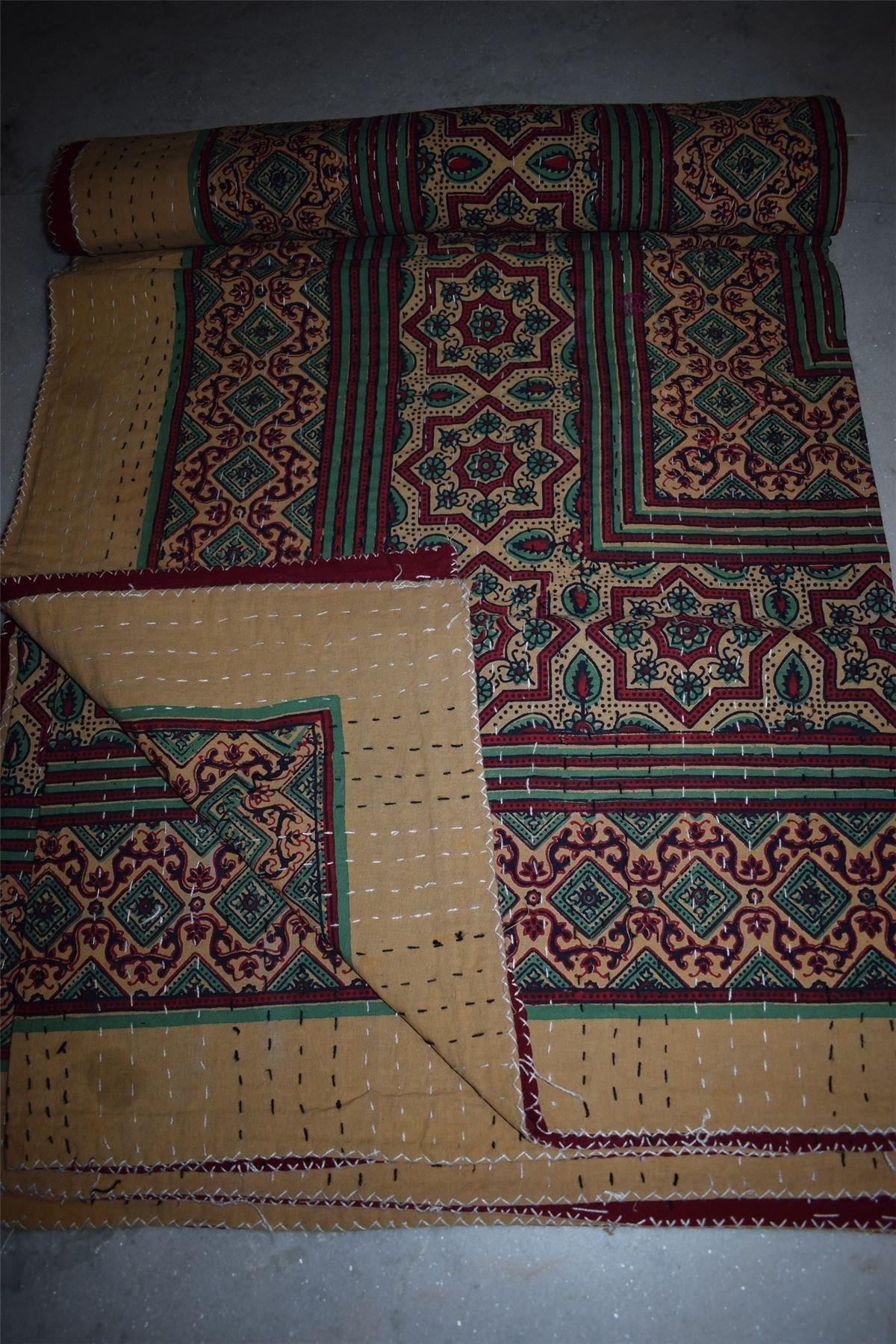 Traditional Hand Block Print Kantha Quilt Patchwork King Bedspread Throw