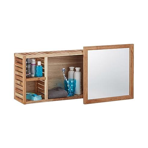 Relaxdays Wandregal mit Spiegel, Walnuss, verschiebbarer Spiegel ...