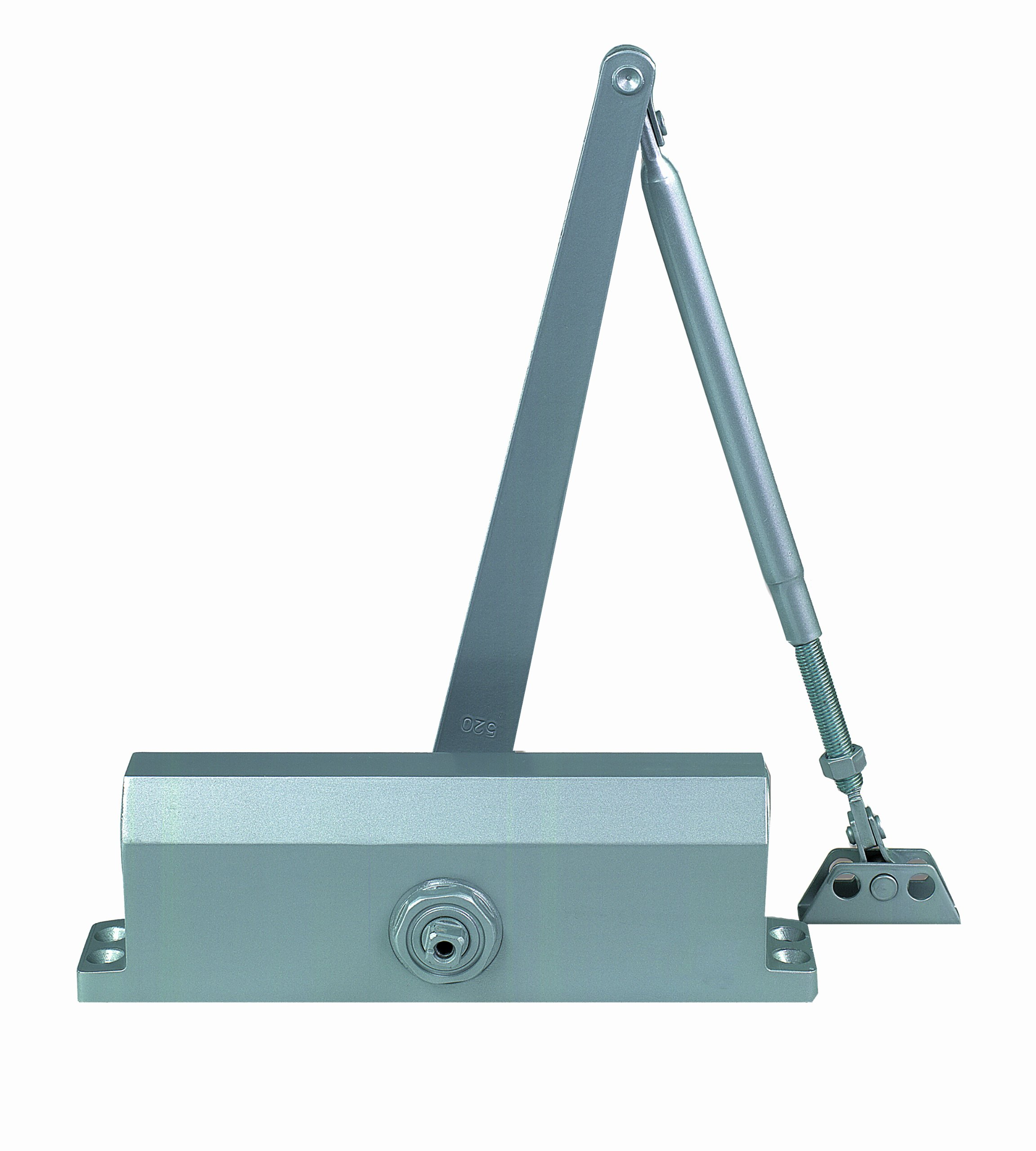 Global Door Controls Compact Commercial Door Closer in Aluminum with Adjustable Spring Tension and Backcheck - Size 4
