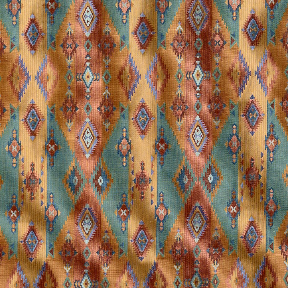 Teal and Red Multi Colored Country or Southwestern Stripe Pattern Upholstery Fabric by the yard by KOVI   B00THA8JUW