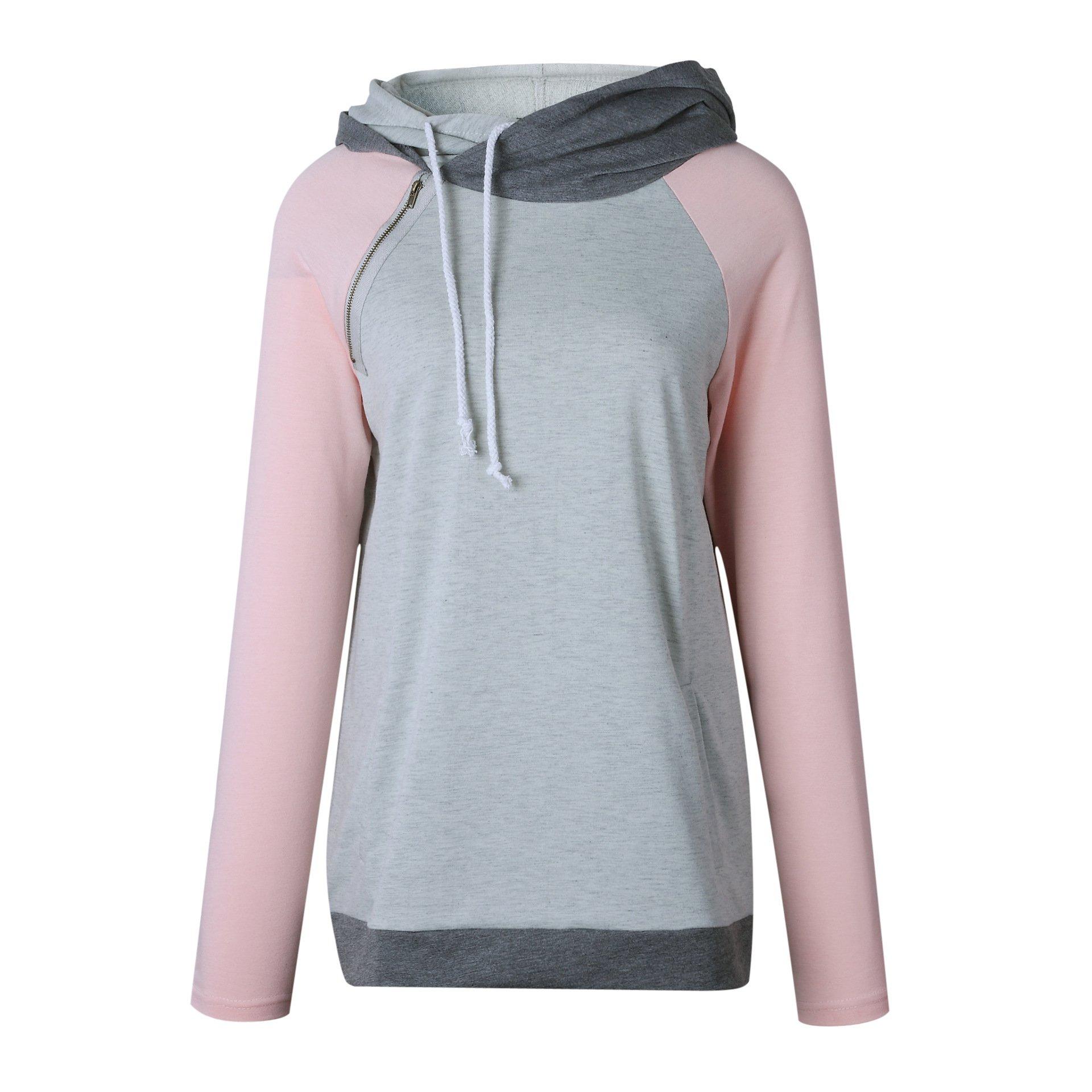 Famulily Women's Long Sleeve Baseball Doublehood Sweatshirt Colorblock Hoodies(Pink,X-Large)