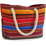 Odyseaco Baja Beach Bag Waterproof Canvas Tote, Large