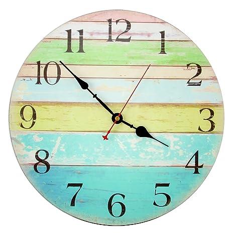 Decorative Wall Clock ,RELIAN 14 Inch Beach Silent Wall Clock Non Ticking for Home Decor