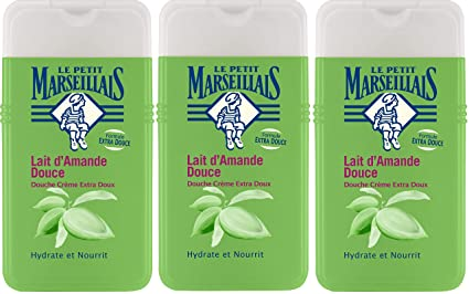 Lote de 3 geles de ducha Le Petit Marseillais extra suaves, con leche de almendra