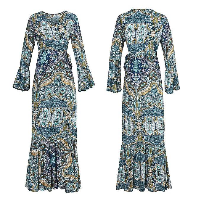 70s Dresses – Disco Dress, Hippie Dress, Wrap Dress R.Vivimos Womens Summer Long Sleeve Cardigan Sexy Maxi Dresses $20.99 AT vintagedancer.com