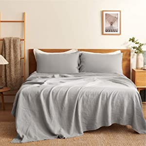 """Bedsure 100% French Linen Sheets, 4-Pc Queen Size Bed Sheet Set, Stone Washed 15"""" Deep Pocket Bedding Sheets and Pillowcases (Queen/Full, 90""""x102"""", Grey)"""