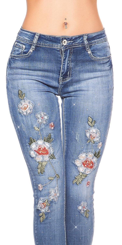 My Christy Beautiful Röhren Jeans mit Blüten Stickereien und