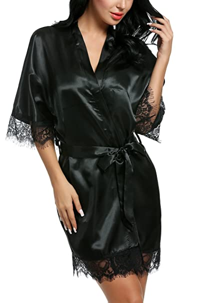 5eb75b45fc Avidlove Women Satin Kimono Short Bridesmaid Robe Pure Color Nightwear Black  Small