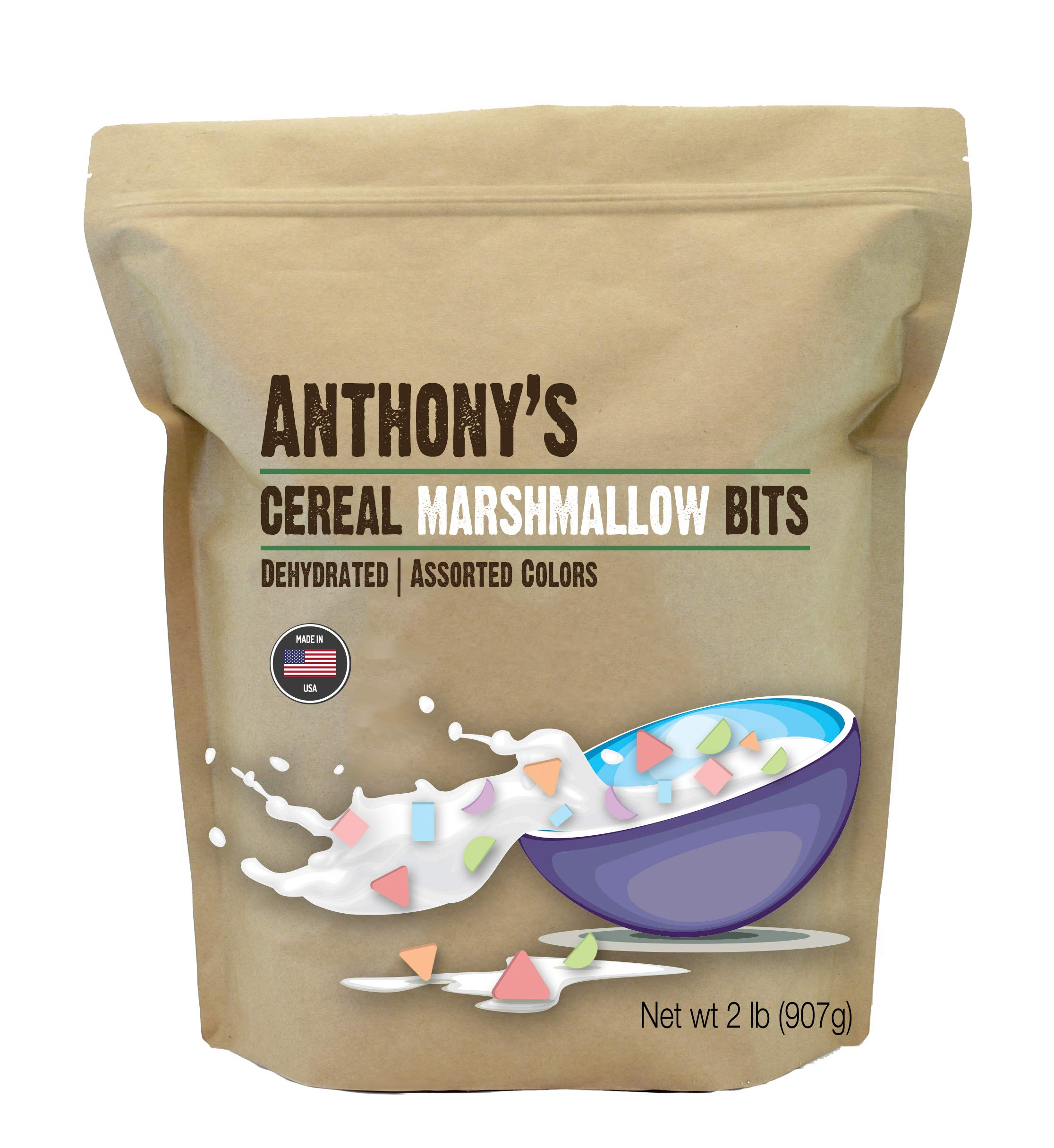 Anthony's Cereal Marshmallow Bits (2lb), Dehydrated, Assorted Colors & Shapes, Made in USA