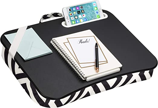 LapGear Designer Lap Desk with Phone Holder and Device Ledge - Black Diamonds - Fits up to 15.6 Inch Laptops - Style No. 45421