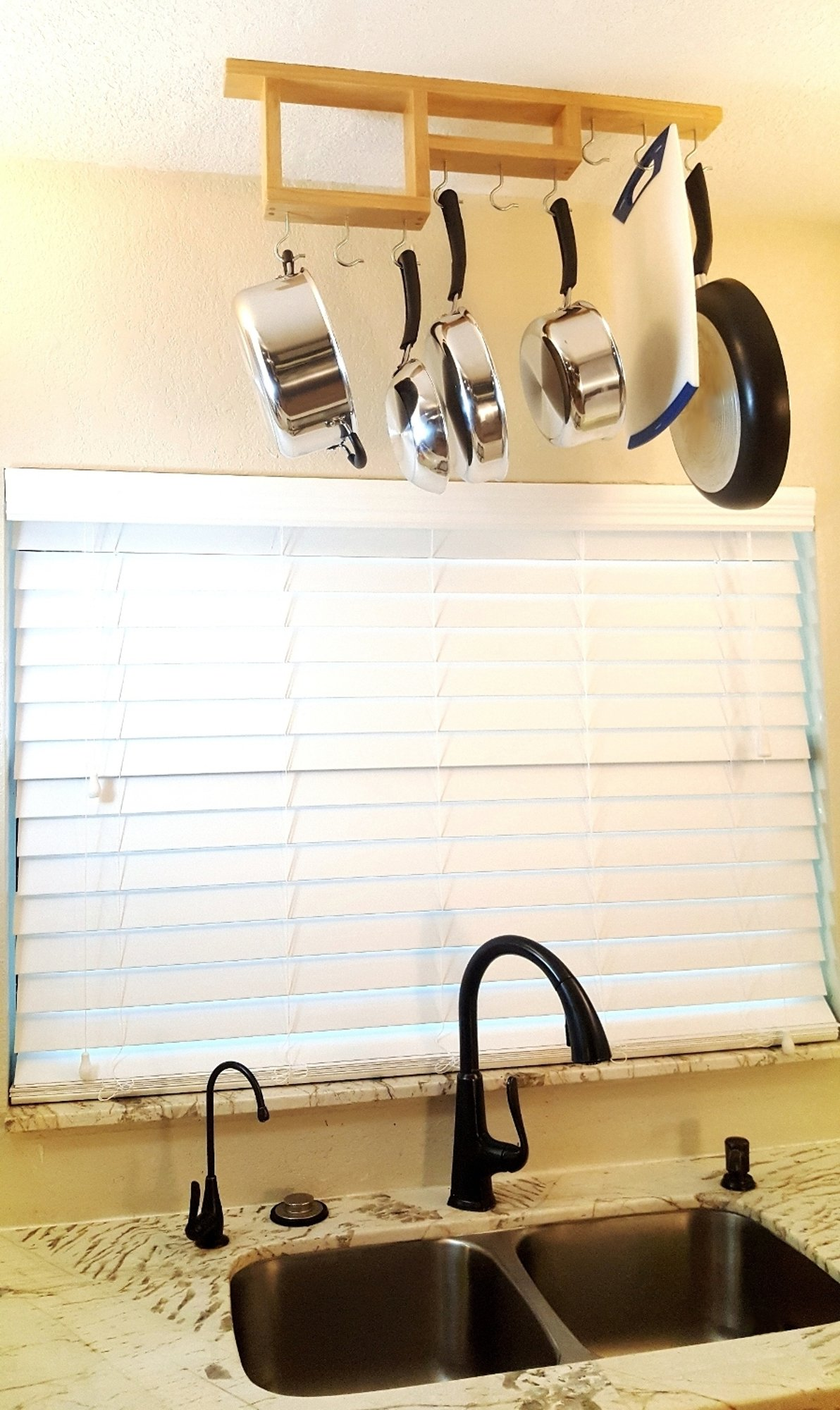 Pot Rack: Easy to Reach Ceiling Mount Solid-Wood Pan Hanger by HomeHarmony by HomeHarmony (Image #5)