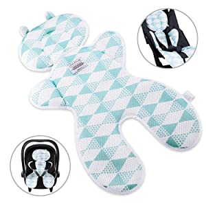 Luchild Baby Head Support Pillow Breathable 3D Mesh Cool Seat Mat Cushion Liner for Stroller Car Seat High Chair Pushchair - Blue