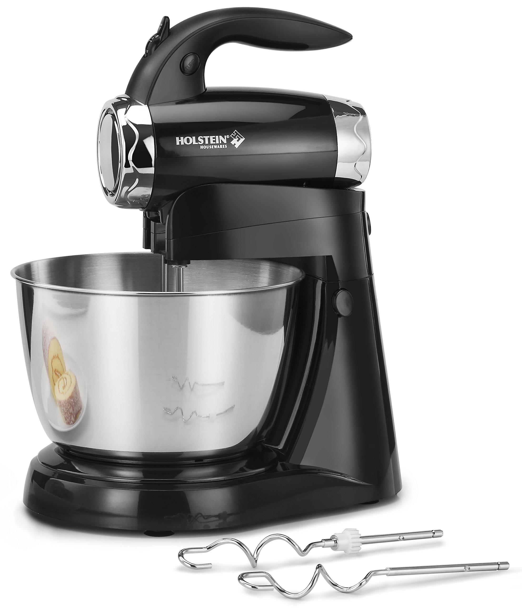 Holstein Housewares HH-09149005SS Hand/Stand Mixer, Black/Silver