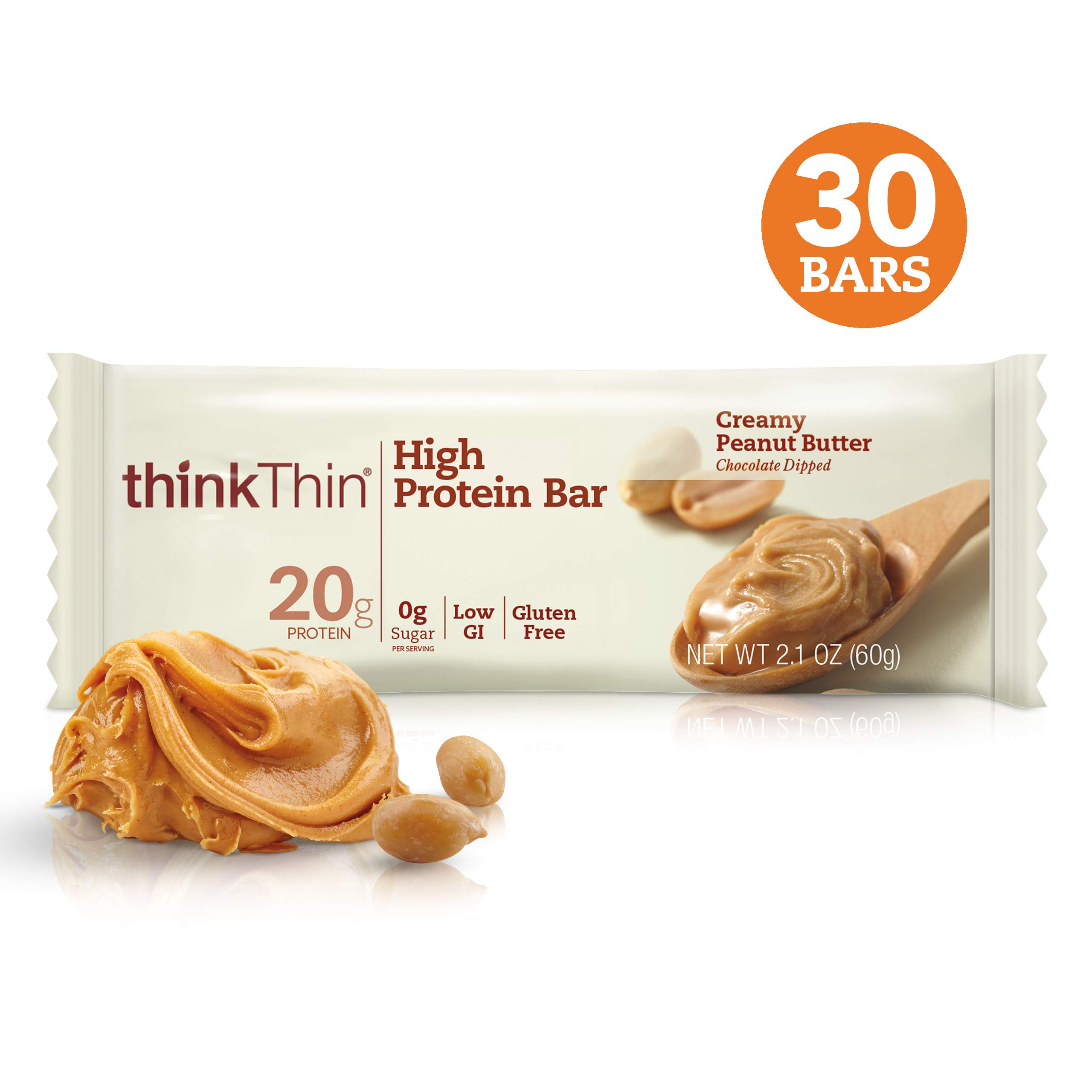 Think! (thinkThin) High Protein Bars - Creamy Peanut Butter, 20g Protein, 0g Sugar, No Artificial Sweeteners, Gluten Free, GMO Free*, 2.1 oz (30Count - Packaging May Vary))