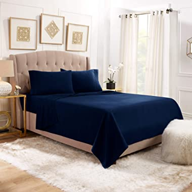 "Empyrean Bedding 14"" - 16"" Deep Pocket Fitted Sheet 4 Piece Set - Hotel Luxury Soft Double Brushed Microfiber Top Sheet - Wrinkle Free Fitted Bed Sheet, Flat Sheet and 2 Pillow Cases - Full, Navy"