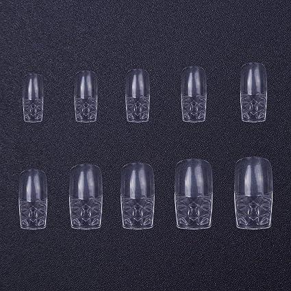 500 uñas postizas de 10 tamaños de uñas postizas transparentes con cubierta completa de cristal cuadrado