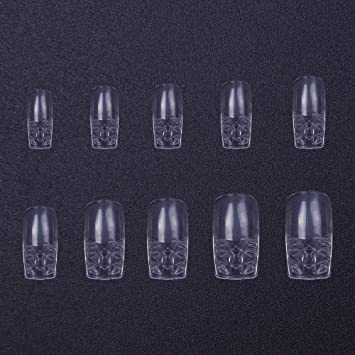 Amazon.com : 500pcs False Nails 10 size Fake Nails Transparent Full Cover Long Square Glass Nail Tips : Beauty