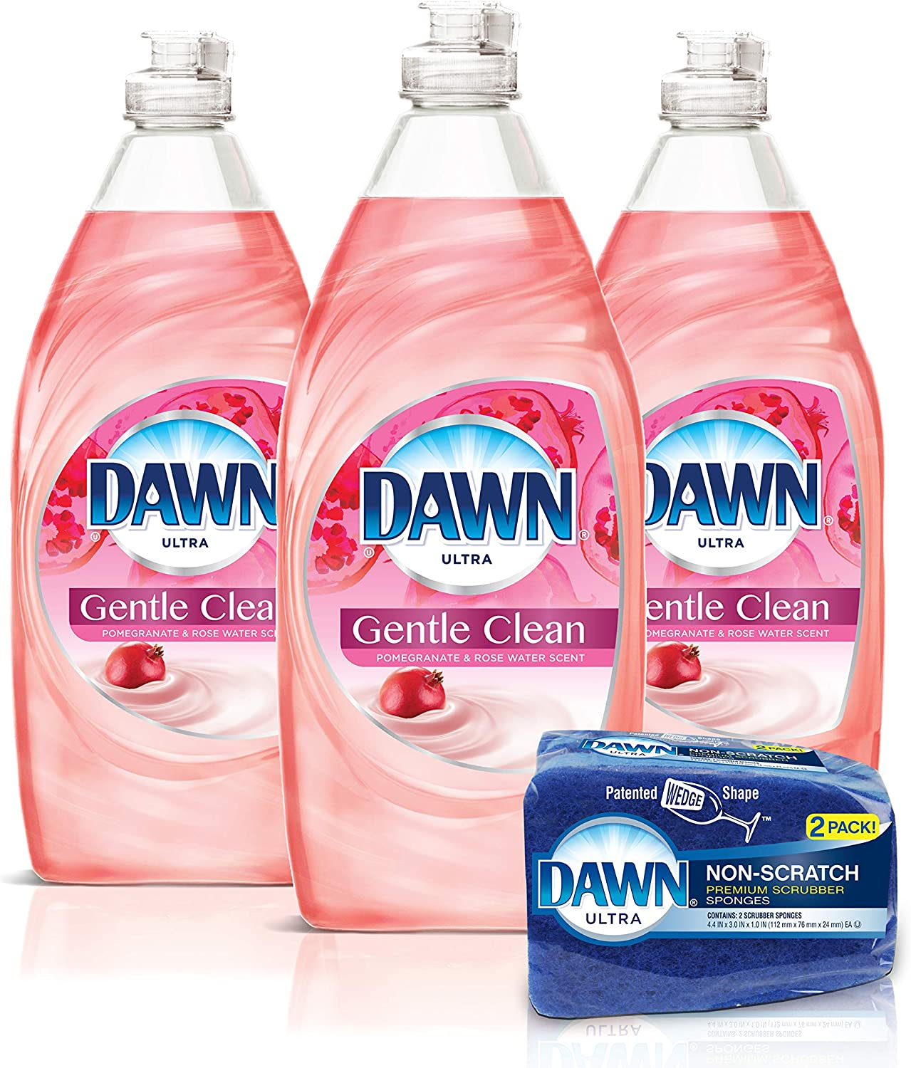 Dawn Gentle Clean Liquid Dish Soap (3 Count) + Non-Scratch Sponge (2 Count), Pomegranate & Rose Water, 1 Set