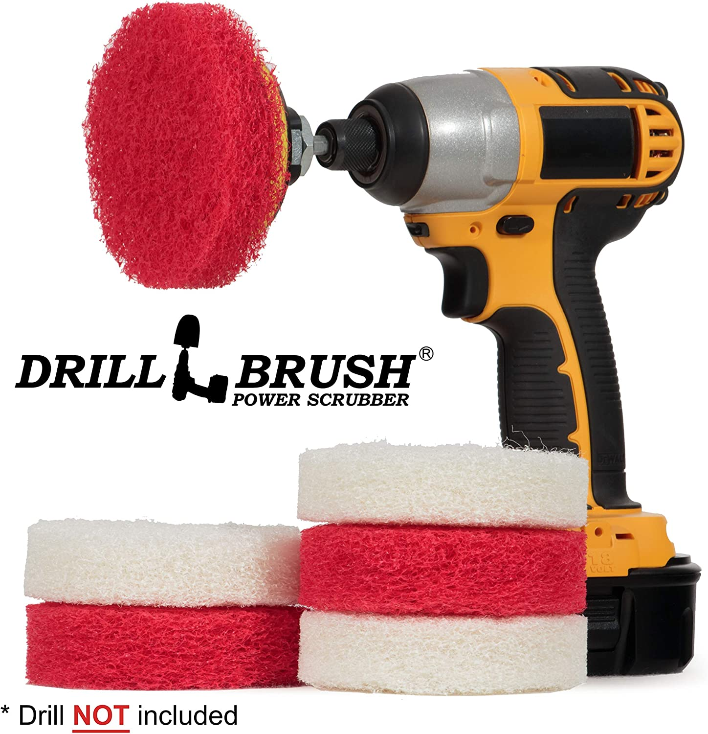 Bathroom - Cleaning Supplies - Drill Brush Power Scrubber Pads - Shower Cleaner - Bathtub - Bath Mat - Bathroom Sink - Tile Cleaner - Baseboard Cleaner - Vinyl Flooring - Hard Water Stain Remover