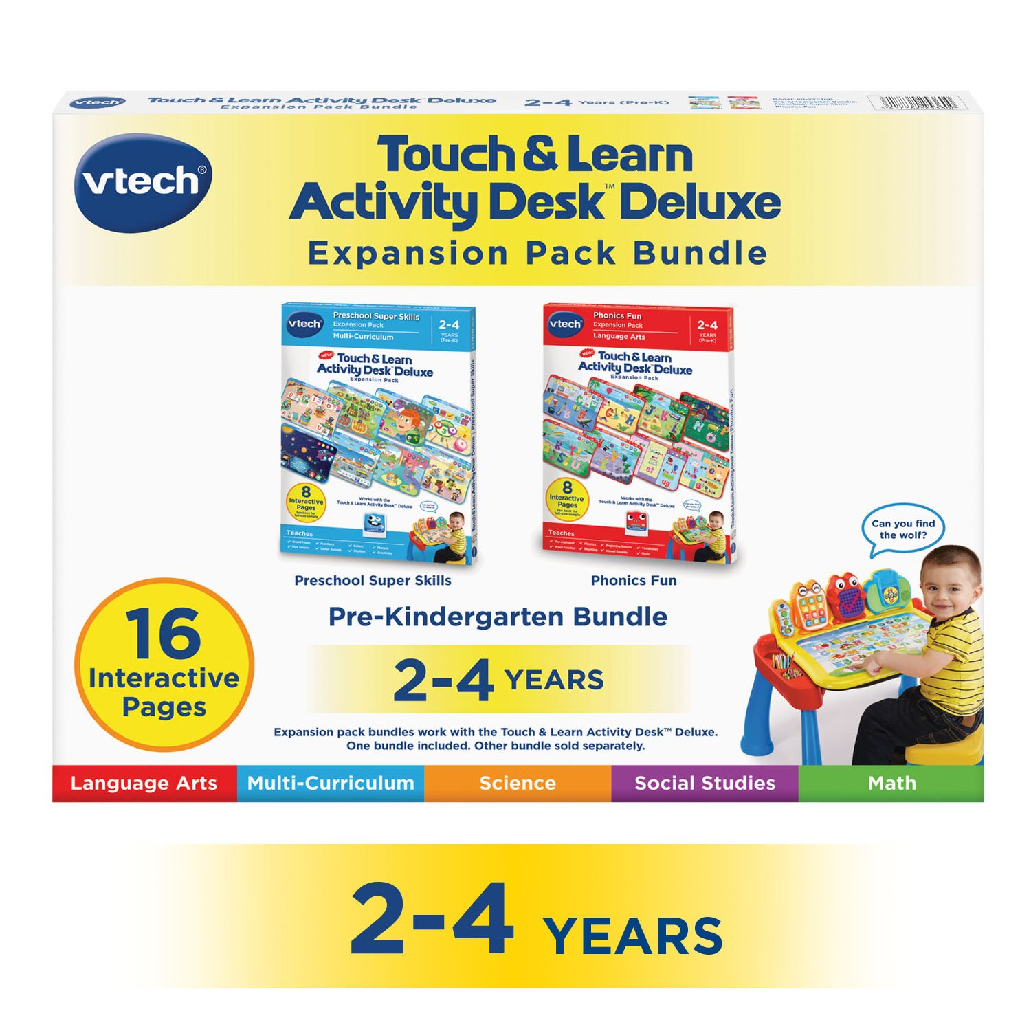 VTech Touch & Learn Activity Desk Deluxe 2-in-1 Preschool Bundle Expansion Pack for Age 2-4 by VTech