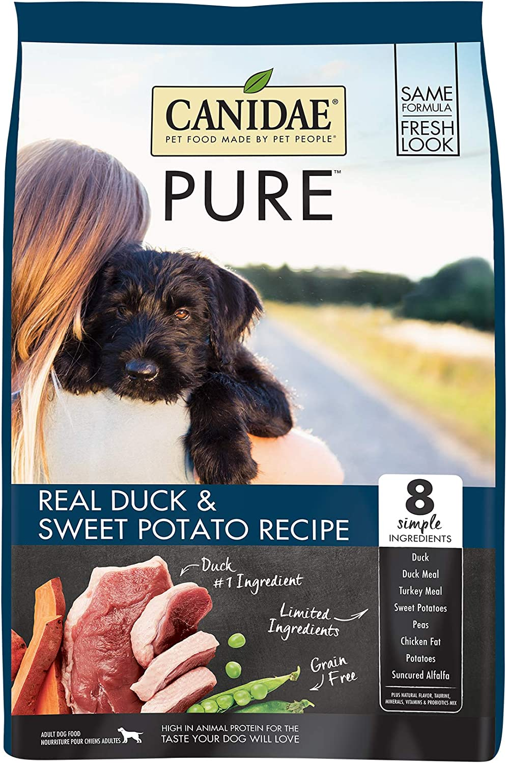 Canidae PURE Grain Free, Limited Ingredient Dry Dog Food, Duck and Sweet Potato, 24lbs