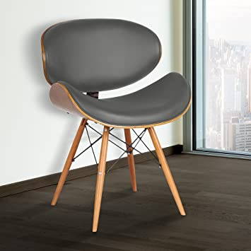 Amazon Com Armen Living Cassie Dining Chair In Grey Faux Leather And Walnut Wood Finish Chairs