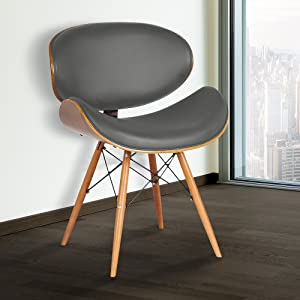 Armen Living LCCASIWAGRAY Cassie Dining Chair in Grey Faux Leather and Walnut Wood Finish