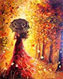 Paint by Numbers-DIY Digital Canvas Oil Painting Adults Kids Paint by Number Kits Home Decorations-Red Dress Girl 16…