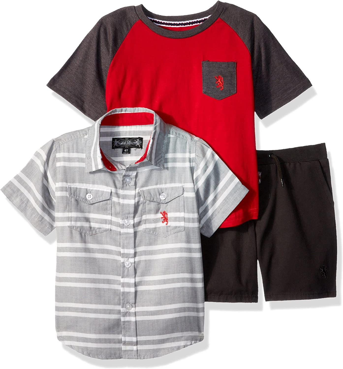 English Laundry Boys Sleeve Striped Sport Shirt, Tee and Pull on Short